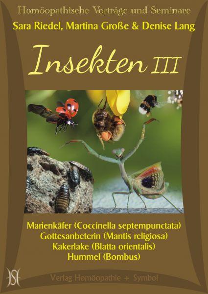 Insekten III. Marienkäfer (Coccinella septempunctata), Gottesanbeterin (Mantis religiosa), Kakerlake (Blatta orientalis) und Hummel (Bombus)