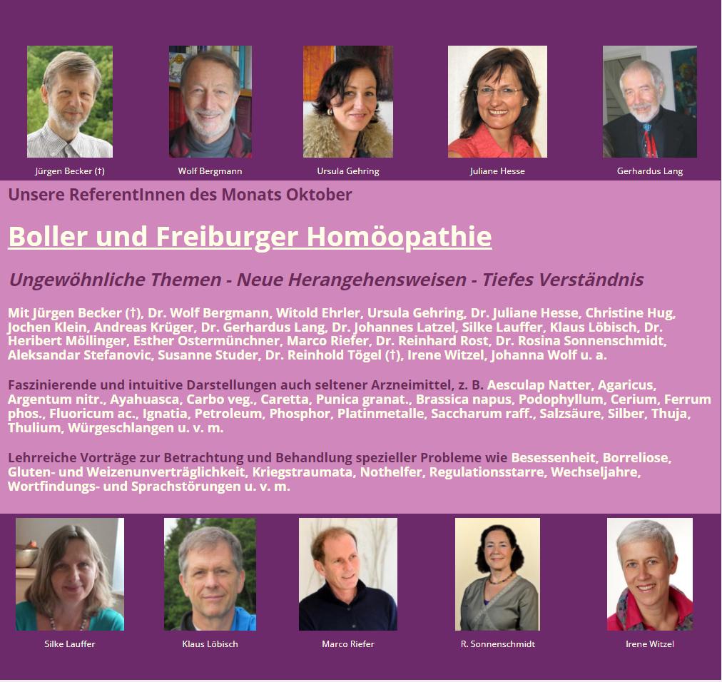 Referent*innen des Monats: Boller und Freiburger Homöopathie